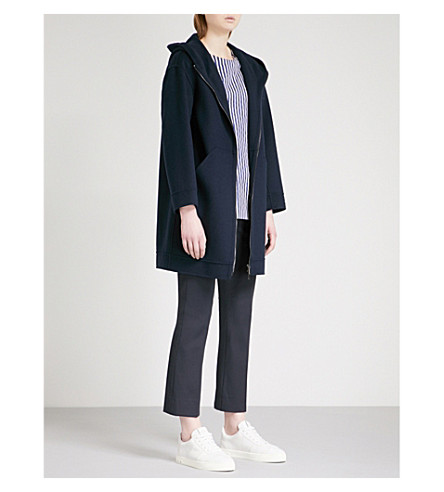 S MAX MARA Chantal hooded wool coat (Navy