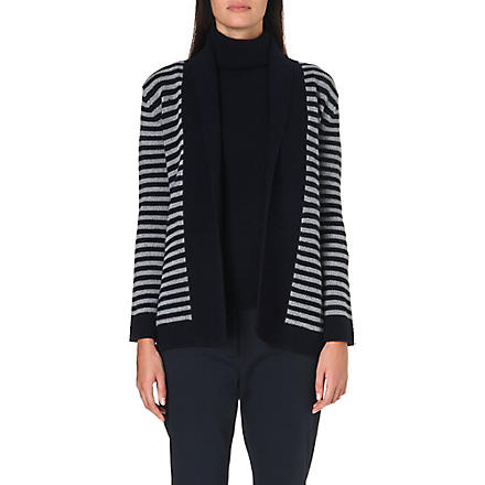 MAX MARA Cicala striped wool and cashmere-blend cardigan (Blue/grey