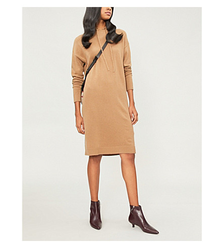 MAX MARA Circolo hooded wool and cashmere-blend dress (Camel