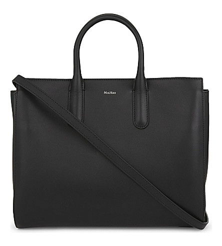 MAX MARA Expandable leather tote (Black