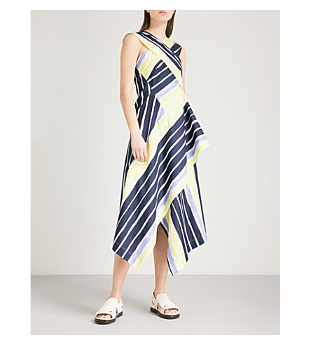 SPORTMAX Cles crossover striped cotton dress (Optical white
