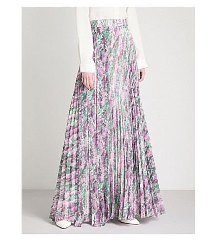 MAX MARA ELEGANTE Crochet floral-print pleated crepe maxi skirt (Lavender+print