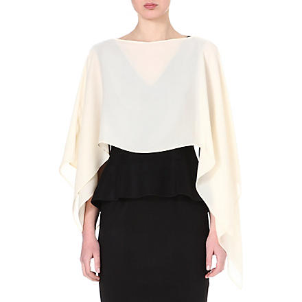 SPORTMAX Silk poncho cover-up (Cream