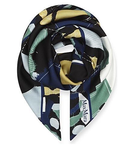 MAX MARA Curvato abstract-print silk scarf (Blue
