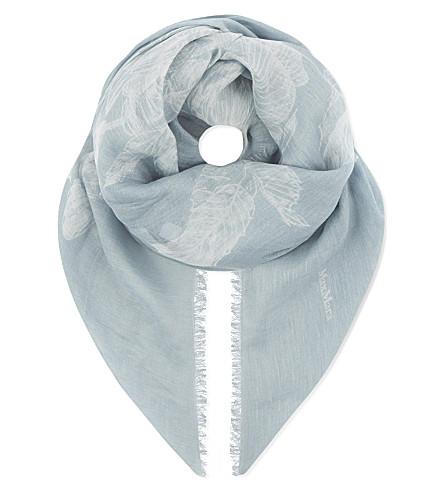 MAX MARA Dama modal and linen-blend scarf (Light+blue