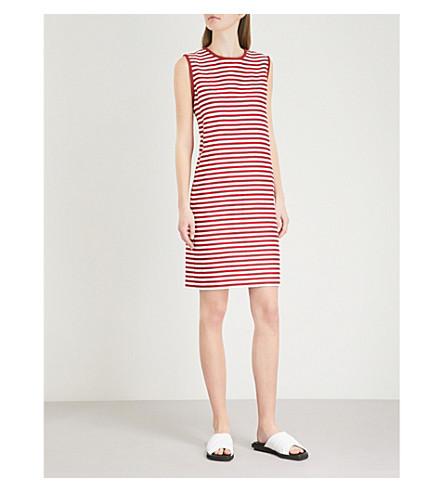 S MAX MARA Dancing striped cotton, linen and silk-blend dress (Red+stripe