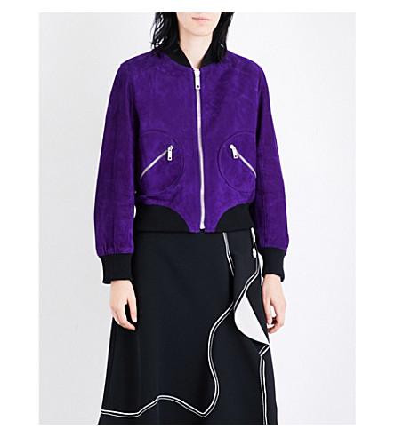 SPORTMAX Deodara suede bomber jacket (Deep+violet