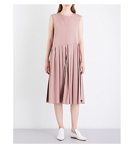 S MAX MARA Divy pleated cotton-poplin midi dress (Pink