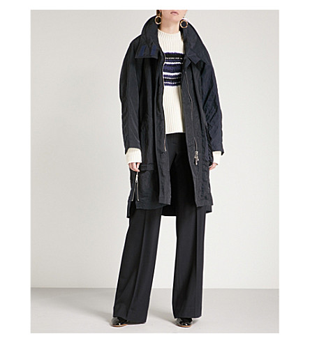 SPORTMAX Kimono-sleeved oversized shell coat (Midnight+blue