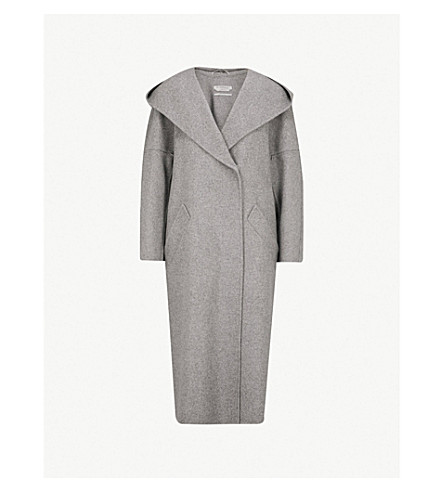 SPORTMAX Dizzy hooded wool and cashmere-blend coat (Grey