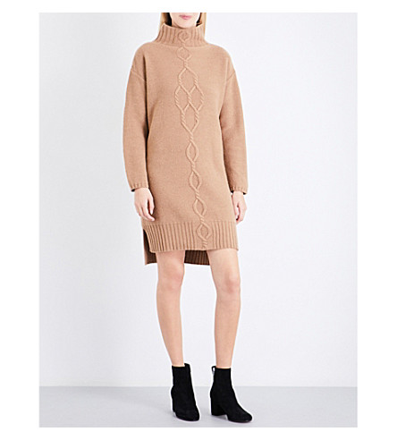 S MAX MARA Dlembo turtleneck wool and cashmere-blend mini dress (Camel