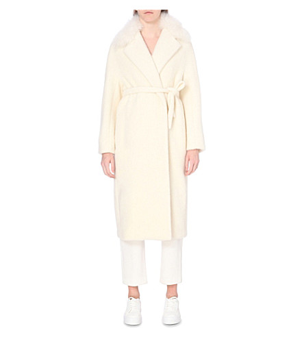 MAX MARA Shearling-trim alpaca-blend coat (White