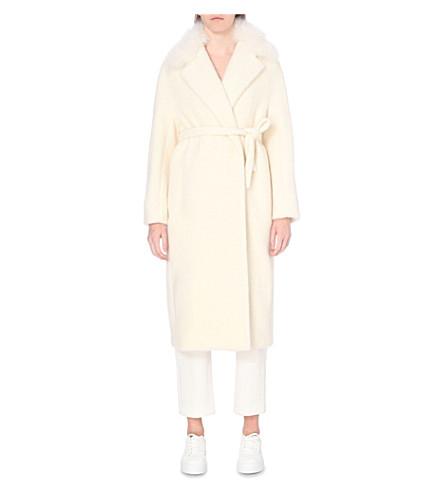 MAX MARA Shearling-trim alpaca-blend coat (White