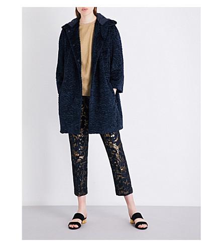 S MAX MARA Effluvi faux-fur coat (Navy