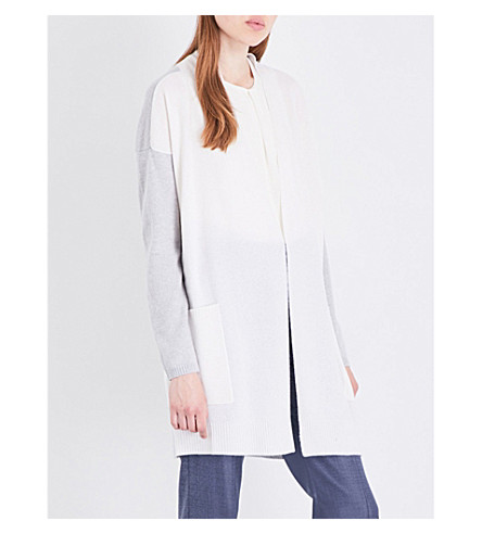 MAX MARA Eliadi cashmere cardigan (Ivory+grey