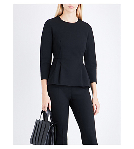 MAX MARA Elis peplum stretch-wool top (Black