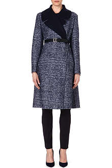 SPORTMAX Elis belted check wool-blend coat