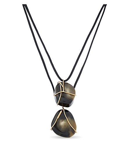 SPORTMAX Two stone pendant leather necklace (Brown