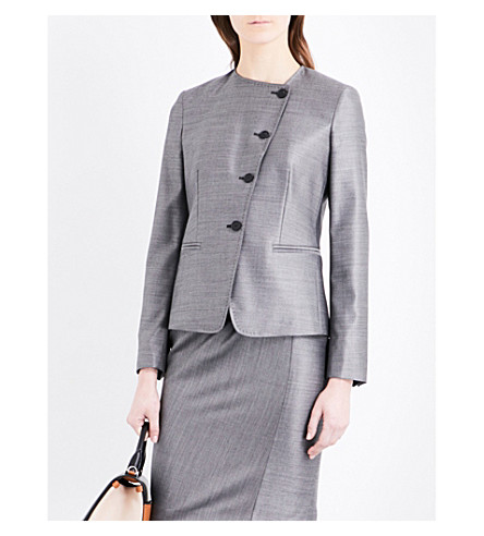 MAX MARA Erba wool and silk-blend jacket (Grey