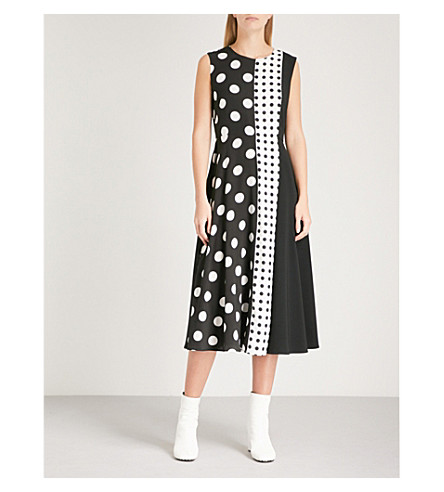 SPORTMAX Panelled polka dot silk midi dress (Black+and+white