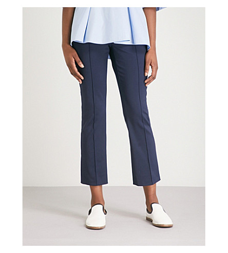 SPORTMAX Eritrea tapered cropped mid-rise stretch-crepe trousers (Blue