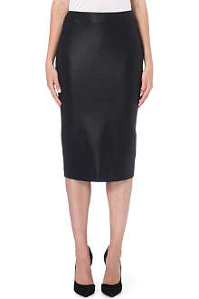 MAX MARA Cracked-effect stretch-crepe pencil skirt
