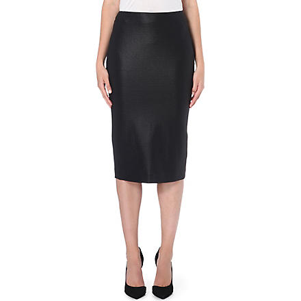 MAX MARA Cracked-effect stretch-crepe pencil skirt (Black