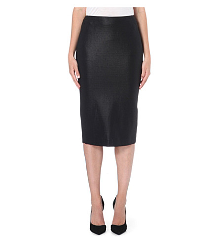 MAX MARA Cracked-effect stretch-crepe pencil skirt (Black