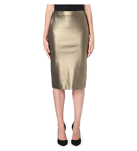MAX MARA Cracked-effect stretch-crepe pencil skirt (Gold