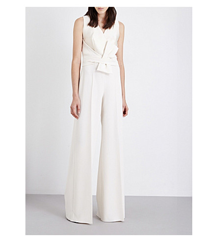 MAX MARA ELEGANTE Everest satin and crepe jumpsuit (Ivory