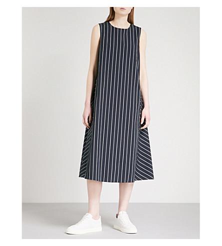 S MAX MARA Extra striped stretch-cotton dress (Navy