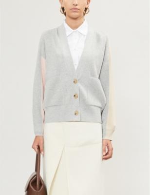 Faida colour-blocked stretch-knit cardigan