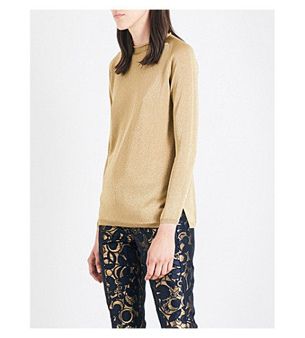 S MAX MARA Faina metallic-knit jumper (Gold