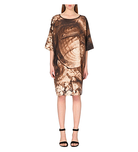 MAX MARA Falcone graphic-print silk dress (Tobacco