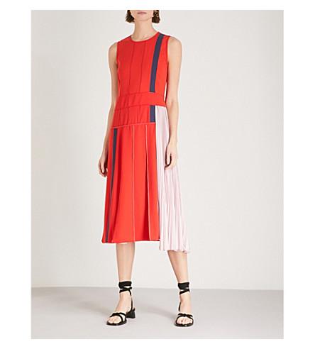 SPORTMAX Falco mixed panel woven dress (Red
