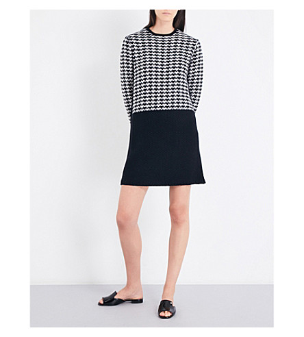 S MAX MARA Fantino houndstooth wool and cashmere-blend mini dress (Black