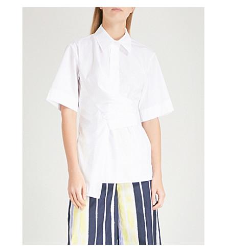 SPORTMAX Fauno wrap-waist cotton shirt (Ivory