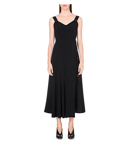 SPORTMAX Satin-panel crepe dress (Black