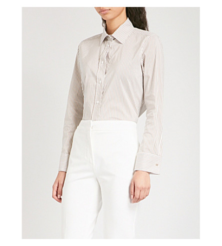 MAX MARA Filato cotton and silk-blend shirt (Camel