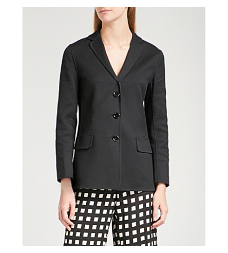 S MAX MARA Floc single-breasted stretch-cotton jacket (Black