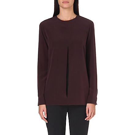 SPORTMAX Split-detail silk top (Burgundy