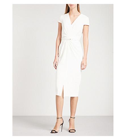 MAX MARA ELEGANTE Full ruched-front crepe dress (White
