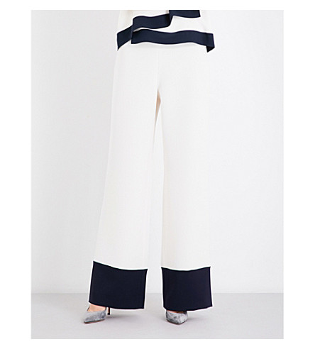 MAX MARA Fumato colour block flared woven trousers (Ivory+navy