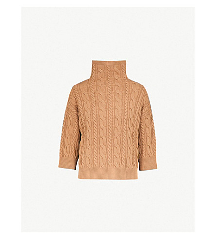 MAX MARA Fungo cable-knit wool and cashmere-blend jumper (Camel