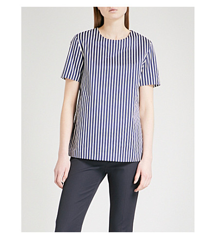 S MAX MARA Striped cotton top (Navy+stripe