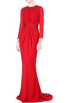 MAX MARA PIANOFORTE Long-sleeved sheer ruched gown