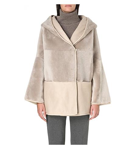 MAX MARA Giambo reversible shearling-panel coat (Ice