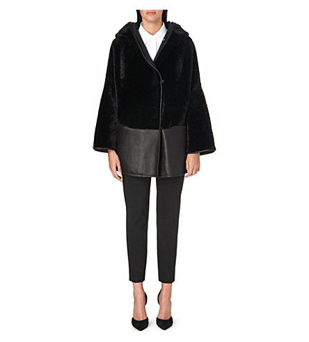 MAX MARA Giambo reversible shearling-panel coat (Black