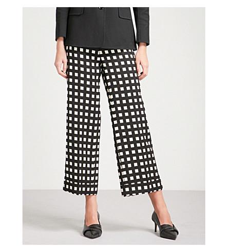 S MAX MARA Gilda checked cropped woven trousers (Black+check