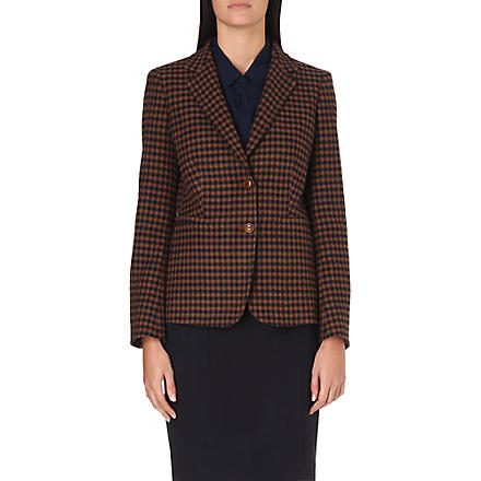 MAX MARA Gin checked wool and cashmere-blend blazer (Tobacco/navy